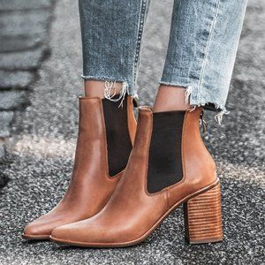 Ankle Boots Tan Camel Leather